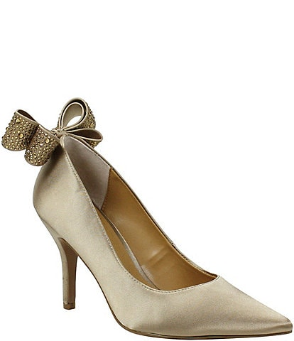 J. Renee Zenata Satin Bow Back Pumps
