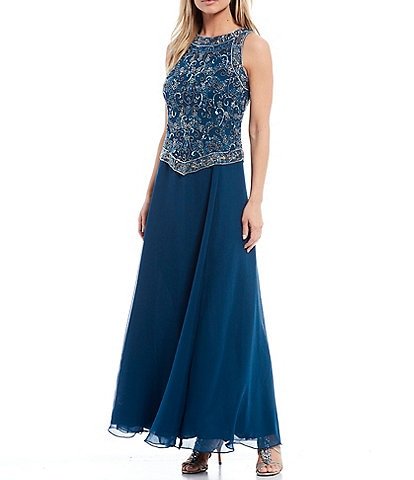J.Kara Beaded Bodice Sleeveless Chiffon Gown