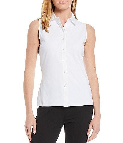 J.McLaughlin Betty Sleeveless Shirt Collar Top