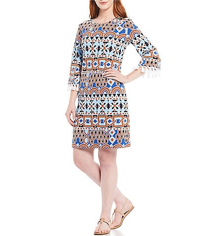 J.McLaughlin Brenda 3/4 Tassel Trim Sleeve Geo Print Dress