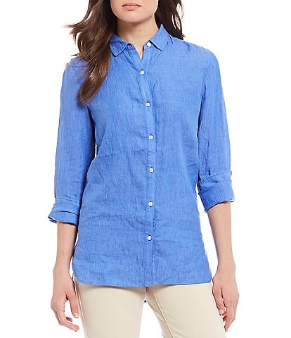 J.McLaughlin Britt Linen Button Front Blouse