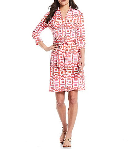 J.McLaughlin Brynn Button Front Geo Print Belted Jersey Dress
