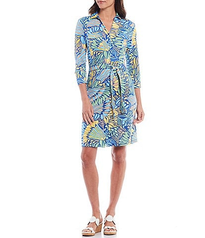 Brynn Point Collar 3/4 Sleeve Belted Print Shirt Dress