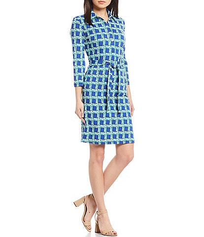 J.McLaughlin Calla Collared Button Front Belted Shirtdress