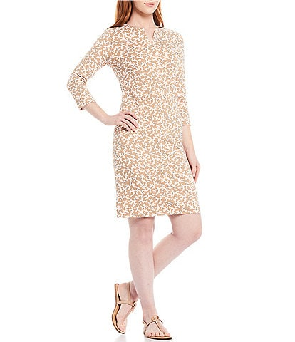 J.McLaughlin Carlly 3/4 Sleeve Geo Print Dress
