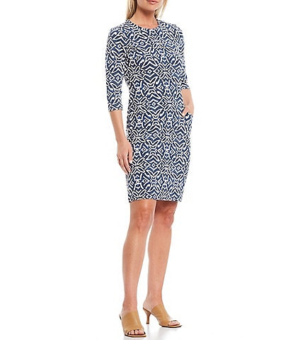 J.McLaughlin Catalyst Nile Geo Print Sheath Dress