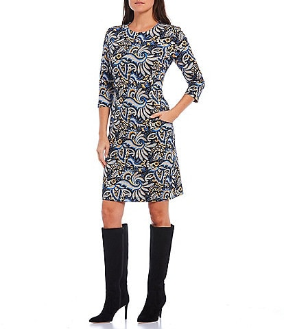 J.McLaughlin Catalyst Paisley Print 3/4 Sleeve Front Pockets Sheath Dress