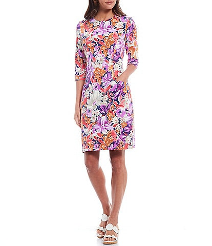 J.McLaughlin Catalyst Floral Print Round Neck 3/4 Sleeve Sheath Dress
