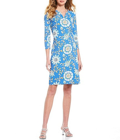 J.McLaughlin Cayo Print 3/4 Sleeve Carly Sheath Dress