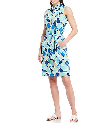 J.McLaughlin Dolly Abstract Diamond Tie Waist Sleeveless Collared Shirt Dress