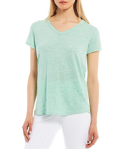 J.McLaughlin Kacey Short Sleeve V-Neck Linen Blend Tee