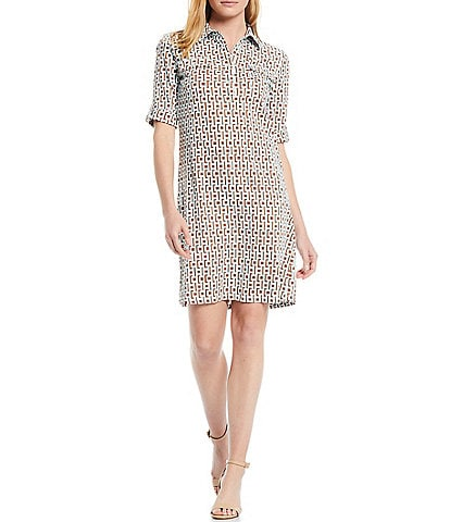 J.McLaughlin Lawrence Short Sleeve Button Tab Pocket Dress