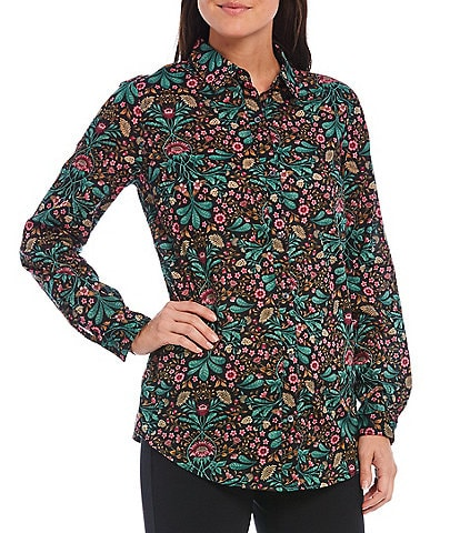 J.McLaughlin Lois Floral Print Button Front Blouse
