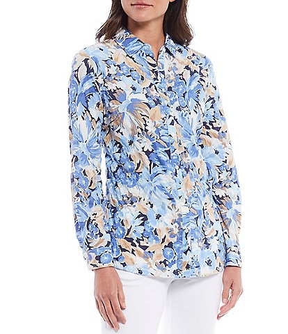J.McLaughlin Lois Floral Print Point Collar Long Sleeve Cotton Blouse