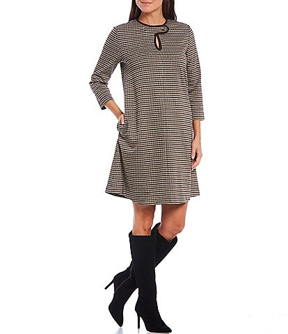 J.McLaughlin Penelope Houndstooth 3/4 Sleeve Faux Suede Trim Detail Shift Dress