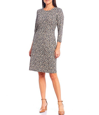 J.McLaughlin Sophia Python Print 3/4 Sleeve Sheath Dress