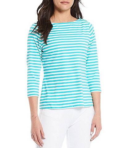 J.McLaughlin Wavesong Stripe Boatneck Button Shoulder Tee