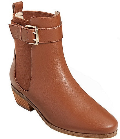 Jack Rogers Easton Waterproof Leather Buckle Detail Block Heel Booties