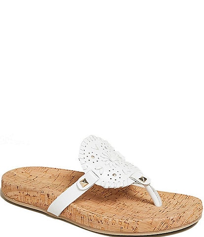 Jack Rogers Georgica Cork Leather Thong Sandals
