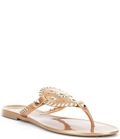Jack Rogers Georgica Studded Whipstitched Slip On Jelly Sandals