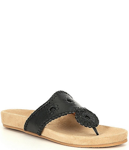 Jack Rogers Jacks Comfort Leather Whipstitch Detail Thong Sandals