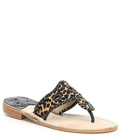 Jack Rogers Jacks Leopard Print Calf Hair Flat Thong Sandals