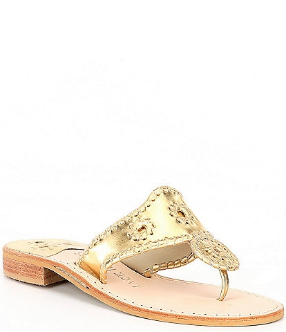 Jack Rogers Jacks Metallic Leather Flat Sandals
