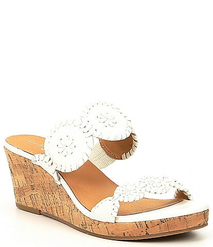 Jack Rogers Lauren Leather & Cork Wedge Sandals