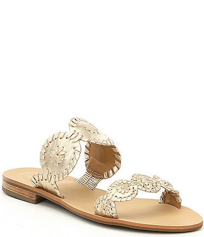 Jack Rogers Lauren Whipstitch Detail Slide Sandals