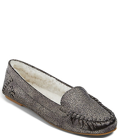 Jack Rogers Millie Metallic Crackle Leather Faux Sherpa Lined Moccasins