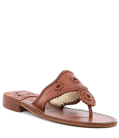 Jack Rogers Natural Leather Jacks Block Heel Thong Sandals