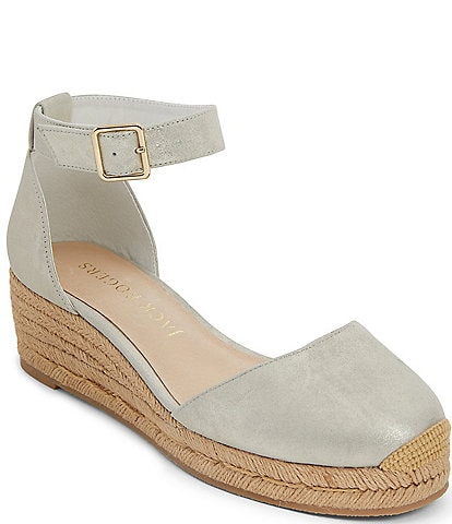 Jack Rogers Palmer Closed Toe Ankle Strap Suede Wedge Espadrilles