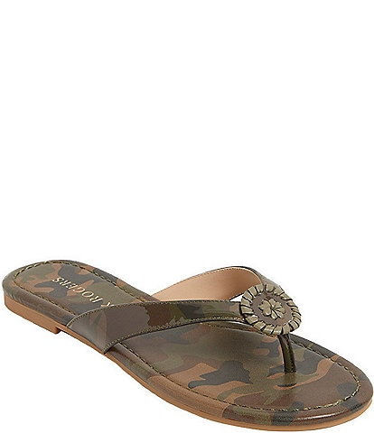 Jack Rogers Rowan Camo Print Leather Thong Sandals