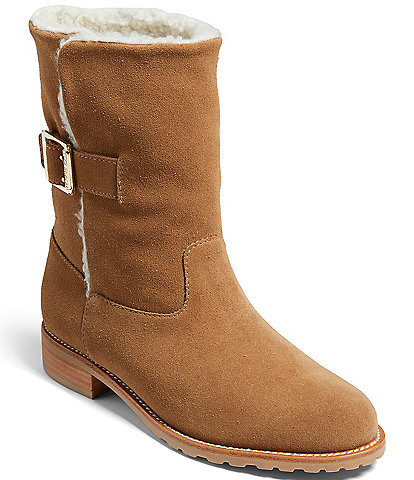 Jack Rogers Sadie Suede Faux Sherpa Lined Mid Boots