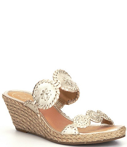 Jack Rogers Shelby Leather Whipstitched Wedge Espadrilles