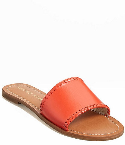 Jack Rogers Sofia Leather Whipstitch Detail Slides