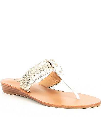 Jack Rogers Tinsley Demi Leather Wedge Thong Sandals