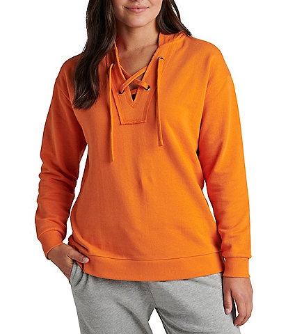 Jag Jeans The Lace Up V-Neck Long Sleeve French Terry Hoodie