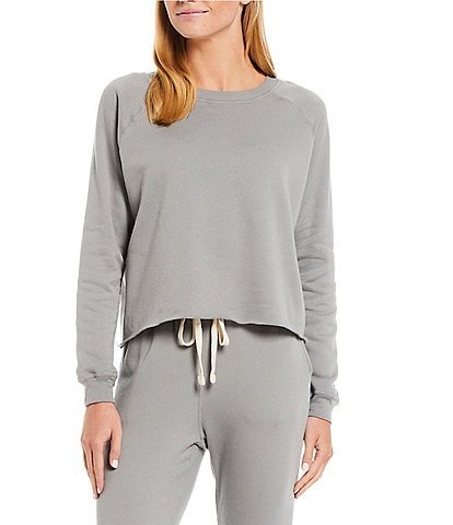 JALA Solid French Terry Cropped Crew Neck Long Sleeve Lounge Top