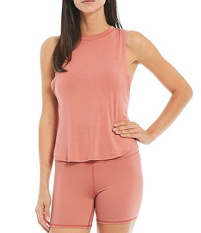 JALA Solid Knit Crew Neck Muscle Lounge Coordinating Sleeveless Tank