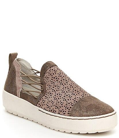 Jambu Erin Perforated Metallic Leather Slip On Sneakers