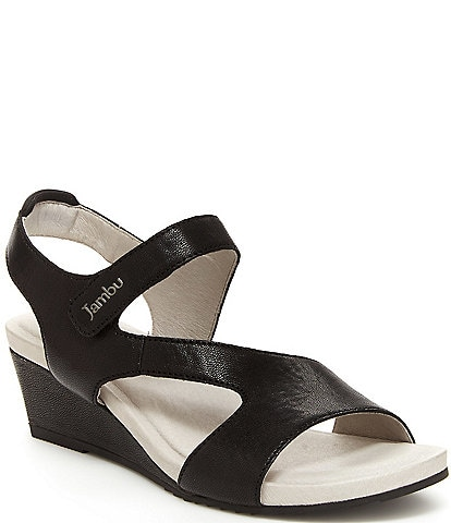 Jambu Modena Leather Banded Wedge Sandals