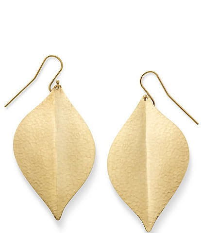 James Avery 10K Gold Repouse Leaf Ear Hooks