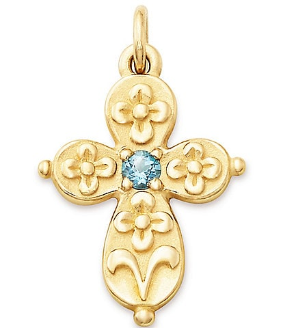 James Avery 14K Gold Floret Blue Topaz Cross Charm