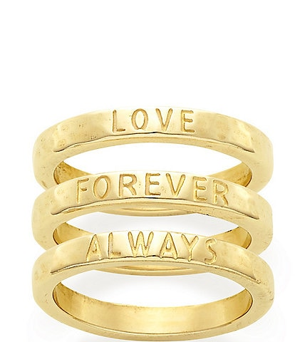James Avery 14K Gold Love Forever Always Ring Set