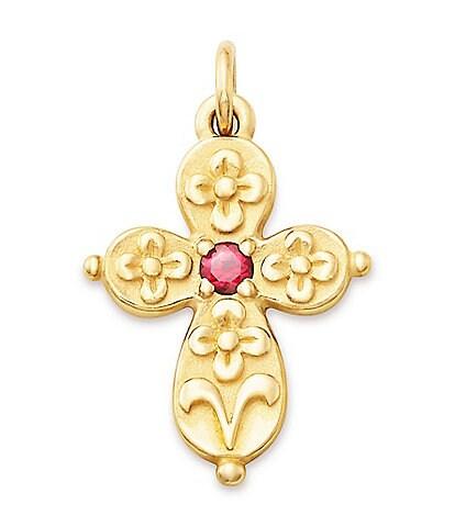 James Avery 14K Gold Ruby Floret Cross Charm