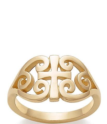 James Avery 14K Gold Scroll Cross Ring