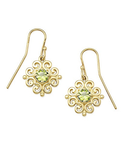 James Avery 14K Gold Scrolled Ear Hooks with August Birthstone