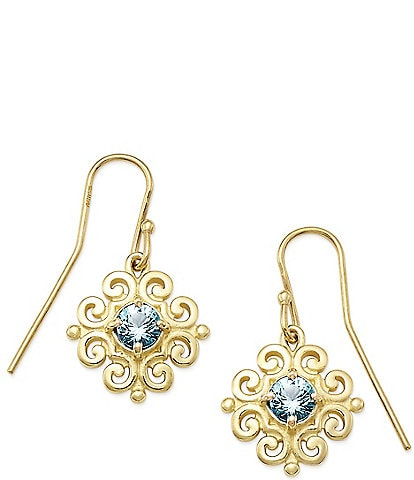 James Avery 14K Gold Scrolled Ear Hooks with December Birthstone