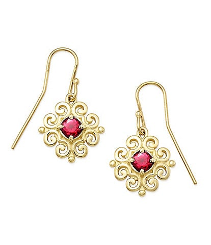 James Avery 14K Gold Scrolled Ear Hooks with July Birthstone
